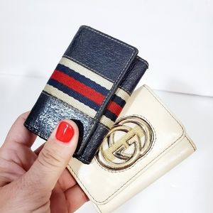Gucci his & hers auth 2 car key holder case used